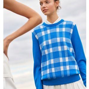 Tory (Sport) Burch Merino Blanket Plaid Sweater